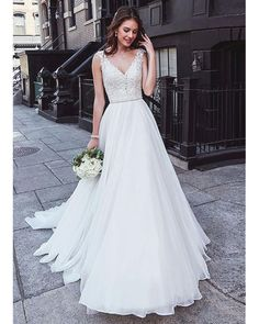 Magbridal Charming Tulle & Chiffon V-neck Neckline Natural Waistline A-line Wedding Dress With Beaded Lace Appliques - Dream Wedding - Hochzeitskleid Western Wedding Dresses, Top Wedding Dresses, Wedding Dress Trends, Designer Wedding Dresses, Bridal Dresses, Unique Colored Wedding Dresses, Wedding Ideas, Princess Bride Dress, Princess Wedding Dresses