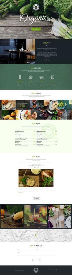 Organic food and restaurant website design. Food Web Design, Web Ui Design, Menu Design, Page Design, Website Design Layout, Web Layout, Layout Design, Layout Site, Minimal Web Design