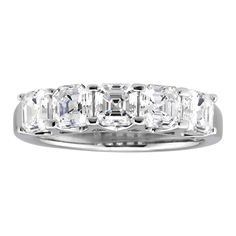 This classy Asscher cubic zirconia cut eternity wedding band is made of sterling silver.