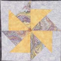 Quilting Assistant : Free Quilt Pattern : Purple Stars And Whirligigs - Pinwheel Block