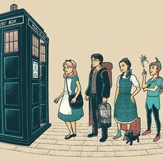 doctor who, alice in wonderland, harry potter, wizard of 0z and robin hood fan art