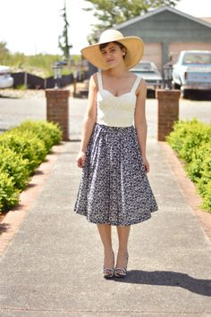 Early 80's Navy Blue & White Floral Pleated Skirt by LadyGoLightly, $42.00