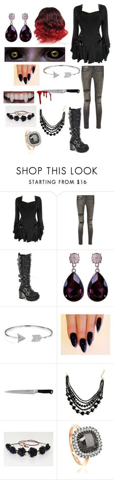 """""""Random Creepypasta Character #6"""" by ender1027 ❤ liked on Polyvore featuring R13, Demonia, Bling Jewelry and BergHOFF"""