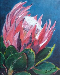 Oil Painting Flowers, Abstract Flowers, Watercolor Flowers, Watercolour, Protea Art, Protea Flower, South African Art, Floral Drawing, Guache