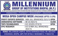 Join #India's best #institute  , at #Bhopal  , #MP  www.millenniumbhopal.com #education   #college   #institute   #MBA   #BE