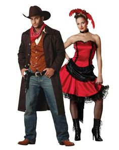 saloon girl and cowboy  sc 1 st  Pinterest : saloon womens halloween costume  - Germanpascual.Com