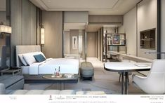 I like = both the lamps + the little lounge seating on the bottom left of the image Design Commercial, Hotel Room Design, Room Planning, Hotel Suites, Minimalist Bedroom, Luxurious Bedrooms, Home Bedroom, Interior Design, Decoration