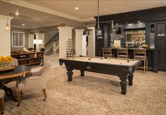 Incredible pool table room ideas / billiard room dcor & design in home. Best pool table, furniture and accessories for family / living room. Game Room Basement, Man Cave Basement, Basement Layout, Basement Bathroom, Rustic Basement, Industrial Basement, Game Room Bar, Modern Basement, Basement Colors