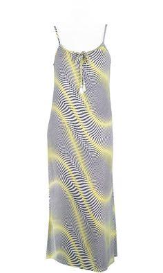 Robe longue,fine bretelle,impression pois NBROOK JAUNE,vendue sur www.depechmod.fr,59.9€
