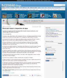 Título: Dicas para reduzir o desperdício de água. Veículo: blog Seus Direitos, Estadão. Data: 12/02/2014. Cliente: CAS Tecnologia.