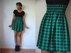 Vtg Mod Houndstooth Green Black SS Mini Retro Dress by LuluTresors, $32.99