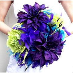 DRAMATIC Peacock Feathers & Flowers Bridal Bouquet Purple Turquosie Black Lime Green Custom WEDDING COLORS Feather Flower Bride Bouquets found on Polyvore