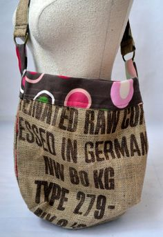 Recycled Burlap Coffee Sack Handbag.