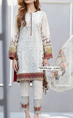 Ivory/Grey Lawn Suit | Buy Baroque Eid Collection Pakistani Dresses and Clothing online in USA, UK Pakistani Dresses Casual, Pakistani Wedding Outfits, Indian Outfits, Hijab Casual, Wedding Dresses, Desi Clothes, Asian Clothes, Modest Fashion, Fashion Outfits