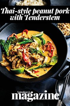 Thai-style peanut pork with Tenderstem recipe Thai-style peanut pork with Tenderstem recipe Elizabeth Coulson elizabethcoulso curry A coconut curry makes a great dairy-free option Creamy fragrant nbsp hellip Gammon Recipes, Pork Recipes, Asian Recipes, Ethnic Recipes, Curry Recipes, Pork Broccoli, Pork Curry, Clean Eating Desserts, Eating Healthy