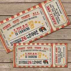 Printable vintage circus ticket birthday invitation; These would look great printed on our eco-friendly cardstock; a great Etsy collaboration!