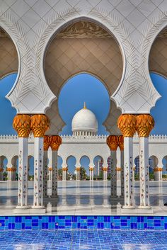 Sheikh Zayed Mosque, UAE, from its southern parking lot.  Perfect architectural symmetry.
