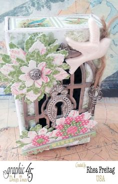 This is the perfect project to welcome spring! By Rhea using Botanical Tea and G45 Small Matchbook Box Staples #graphic45