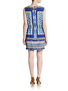 Mosaic-Print Drawstring Dress