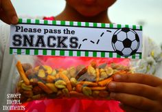 Free printable label for soccer snacks by Sweet Metel Moments