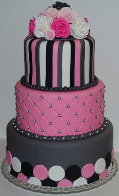 Pink and Grey Wedding Cake by cjmjcrlm (Rebecca), via Flickr