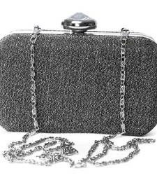 Women glittering silver large box clutch