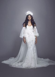 Marchesa Fall 2021 Bridal Collection. www.theweddingnotebook.com Trumpet Style Wedding Dress, Marchesa Wedding Dress, Marchesa Bridal, Strapless Lace Wedding Dress, Wedding Dress Necklines, Famous Wedding Dresses, Mini Wedding Dresses, Bridal Dresses, Bridal Gown