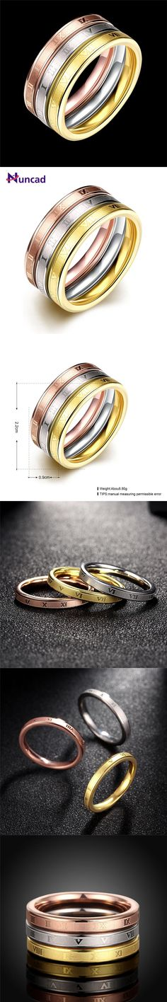 Nuncad Fashion Wedding Jewelry 3 Pieces Ring Male Female Gold Color  Stainless Steel Ring Birthday Anniversary e0127e1c5d14