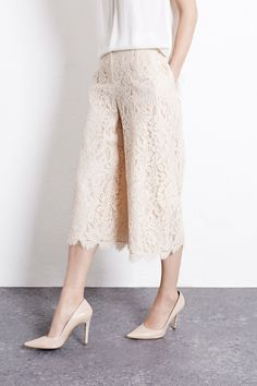 Culottes | Cream LACE CULOTTES | Warehouse