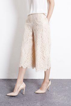 Culottes | Cream LACE CULOTTES | Warehouse