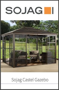 Here we check out the Sojag Castel Gazebo, which is yet another hardtop backyard mini living space that you might be interested in for those summer nights on the back patio.  Check out our review for more details!  #gazebolife #thegnomeknows #backyard #sojag Hardtop Gazebo, Wooden Decks, Outdoor Living, Outdoor Decor, Back Patio, Summer Nights, Gnomes, Pergola, Things To Come