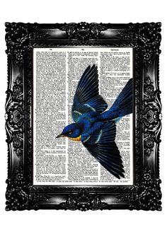 """Bird on a """"[...]Upcycled Book Art Prints Vintage Book Print[...]"""""""