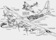 Boeing B-17 Aircraft Cutaway and XB-15 above