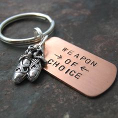 BALLET SLIPPER Weapon of Choice Stamped Keychain alt by riskybeads