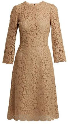 Cordonetto-lace midi dress by Dolce & Gabbana Hijab Evening Dress, Formal Dresses With Sleeves, Royal Clothing, Lace Midi Dress, Brown Dress, Classy Outfits, Dress To Impress, Designer Dresses, Party Dress