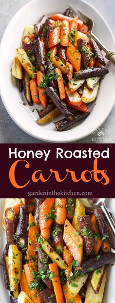 Honey Roasted Carrots Garden in the Kitchen These Honey Roasted Carrots with buttery garlic flavor are a tasty and colorful side dish perfect for Springtime Veggie Side Dishes, Side Dish Recipes, Food Dishes, Carrot Dishes, Dishes Recipes, Vegetable Recipes, Vegetarian Recipes, Healthy Recipes, Rainbow Carrot Recipes