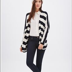 Stripe Lightweight Cardigan Preloved - the picture is not the exact cardigan - just wanted to show how the cardigan if you wore it like the model - no rips no tears - dark blue with beige stripes - fold over collar - short sleeve - lightweight Forever 21 Sweaters Cardigans