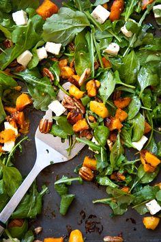 Warm Butternut Feta and Pecan Nut Salad Braai Recipes, Gourmet Recipes, Vegetarian Recipes, Cooking Recipes, Healthy Recipes, Easy Recipes, Healthy Soup, Healthy Options, Vegetable Recipes