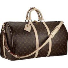 2dd53b4ad77 Louis Vuitton M41414 Travel Keepall 55 With Shoulder Strap Brown Bolsas  Mochila