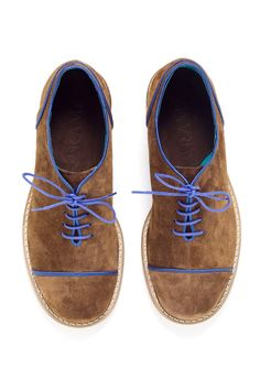 Women Oxford shoes Brown suede with Royal Blue by ARAMAshoes, $230.00