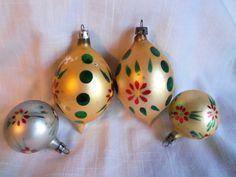 4 Vintage  Poland Hand Painted Mercury Glass Ornaments Teardop by berryetsy on Etsy
