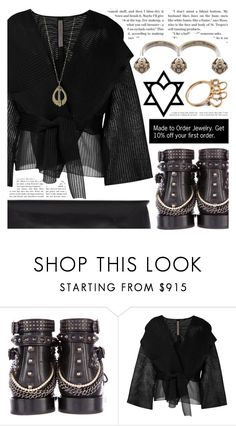 """Falkora Jewelry"" by pastelneon ❤ liked on Polyvore featuring Yves Saint Laurent, Rick Owens, modern, jewelry, edgy, fantasy and futuristic"