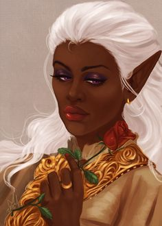 """kingsiha:  """"yay!! all finished with elfyourmother's portrait commission of her amazingly gorgeous warden, Gisele Surana… i really had a lot of fun painting this omg… elf wanted Alistair's rose in it..."""