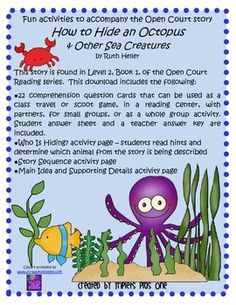 Fun Activities to accompany the Open Court story How to Hide an Octopus $