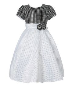 Look what I found on #zulily! Black & White Pin Dot Bow Puff-Sleeve Dress - Girls by Richie House #zulilyfinds