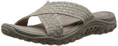 Skechers Womens Reggae Rootsy Vibe Flip Flop TaupeSilver 9 M US -- Continue to the product at the image link.
