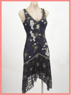 3d83a84231b Flapper Style Beaded Black Satin and Lace Cocktail Dress Bluevelvetvintage