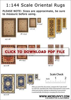 Printable 1:144 scale oriental rugs from MicroJivvy. Also has free printable wallpaper in 1:144 scale.