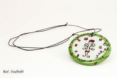 """Pendentif vert et rouge - collection """"La Fée"""" : Pendentif par doremifasolafimo"""