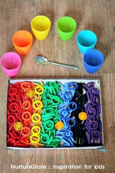 rainbow color sensory tub